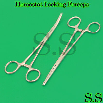 """Set of 8"""" Straight + Curved Hemostat Forceps EMT Locking Clamps Stainless Steel"""