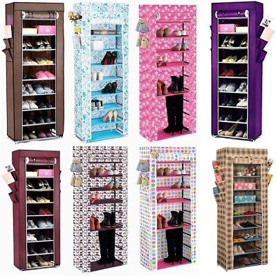 Dustproof 10 Tier Canvas Fabric Shoes Cabinet Storage Organiser Shoe Rack Stand