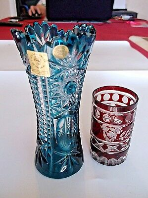Caesar Bohemia Hand Cut Lead Crystal Blue and Clear Glass Vase + One Other