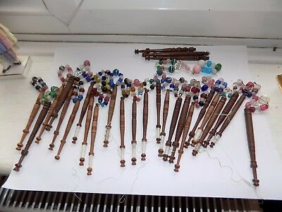 27 x ANTIQUE TURNED WOOD LACE BOBBINS WITH HAND BLOWN GLASS SPANGLE BEADS (3)