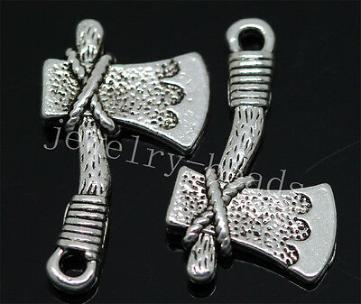 New 20pcs Antique Silver Two-Sided axe Jewelry Charms Pendant DIY 22x13mm