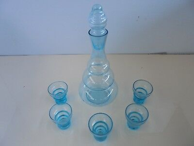 Empire Genie Bottle Etched With Matching 5 Shot Glasses Coloured Blue Glass