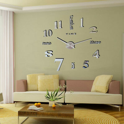 DIY 3D Large Number Mirror Wall Clock Self-adhesive Sticker Home Office Decor UK
