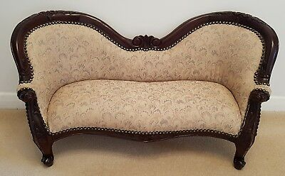 Antique Victorian Style Dolls Bears Small Dogs Hand Carved Mahogany Sofa Chair