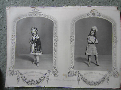 1857 engraving Ellen and Kate Bateman child prodigy actors in Shakespeare.