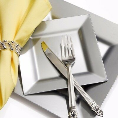 SILVER SQUARE PARTY PLATES Small-Large Table Cutlery Metallic Wedding Tableware