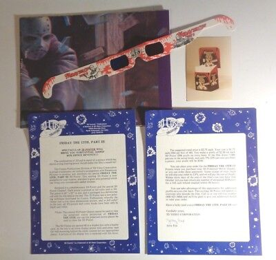 Original-Authentic 1982 Friday The 13Th, Part Iii 3D Movie Poster-Glasses Promo