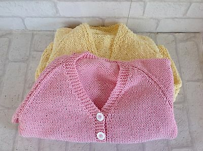 Vintage Handmade Children's Girls Yellow V-Neck and Pink V-Neck Cardigan
