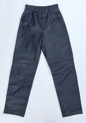Vintage 80s Navy Blue Leather Trousers 6 8 XS