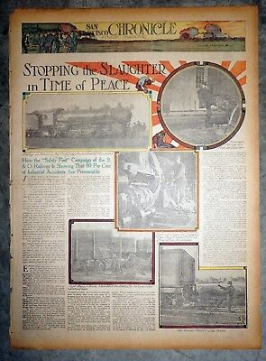 B & O Railroad Safety Campaign - 1912 San Francisco Sunday Color Newspaper Page