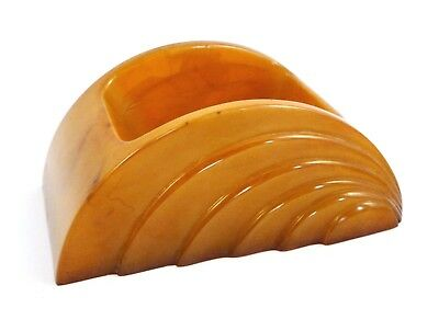 Art Deco Carvacraft marbleised amber bakelite simichrome tested desk tidy- Rare.