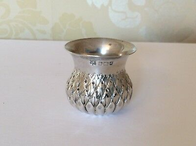 Antique Solid Silver Thistle Shaped Mustard Pot. Sheffield 1905. 23.5g