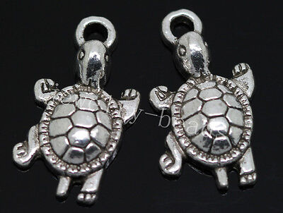 New 20pcs Antique Silver Beautiful Turtle Jewelry Charms Pendant 23x12mm