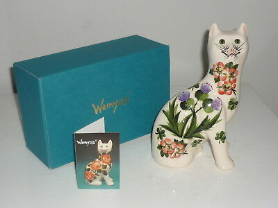 WEMYSS WARE (Griselda Hill Pottery) Cat with Floral Decoration (7 inches High)