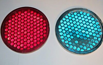 Antique Red & Green Railroad Signal Light Lens Corning Marble Glass code 541731