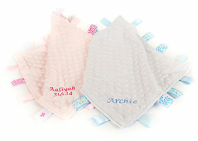 Personalised Embroidered  Tags Blanket Pink  blue Blankie Baby Comforter labels