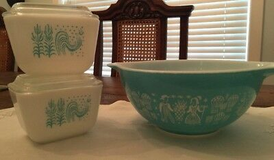Vintage Pyrex Turquoise Amish Butterprint Rooster Refrigerator Dishes/442 Bowl