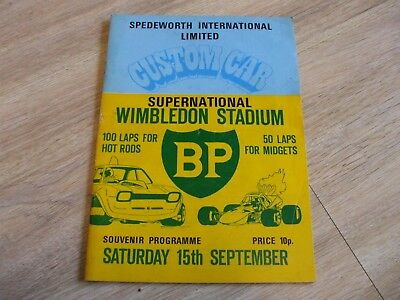 SPEDEWORTH INTERNATIONAL LTD. CUSTOM CAR WIMBLEDON STADIUM 1970's PROGRAMME