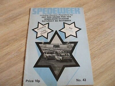 Spedeweek Hot Rod Grand Prix Wimbledon Stadium Nov 1974 Souvenir  Programme