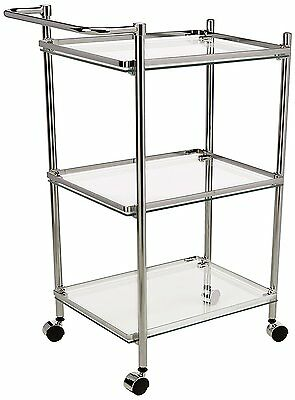 Neu Home Rolling Serving Cart with Glass Shelves, Chrome Finish
