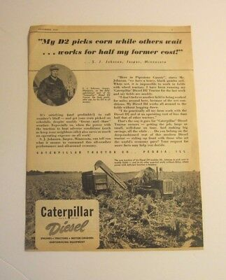 "1947 Caterpillar Tractor Co. Peoria, Ill. D2  Tractor ad. ""owner identified"""