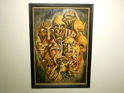 """Vintage Oil Painting Of Monster's 29"""" x 21""""  Free Shipping"""
