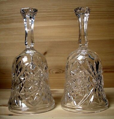 Two Lead Cut Crystal Bells.