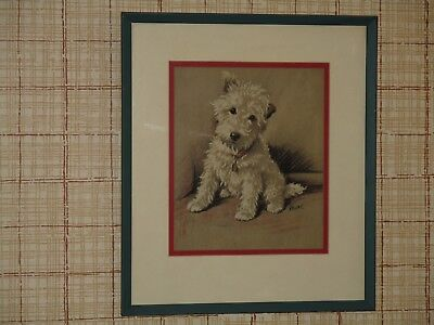 Framed & Matted Print West Highland White Terrier Westie Dog Signed MAC 12 x 14
