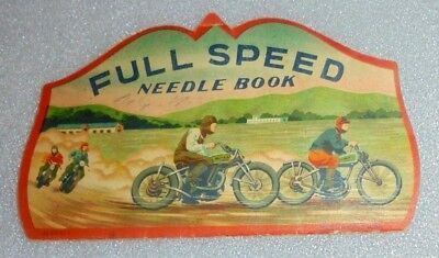 scarce old Full Speed sewing needle book motorcycle graphic