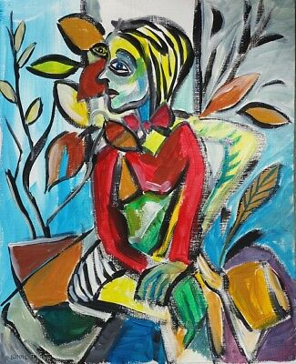 Original Picasso Style Abstract Modern Woman By Window Painting Artist Signed