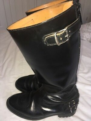 Motorcycle Boots Trophy Gold Top Classic Cafe Racer - Black Leather Size 8