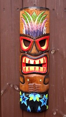 Large 50cm Hand Carved Painted Tiki Hawaiian Wall Hanging Mask Face
