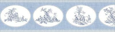 Blue Toile-Wallpaper Border- Pattern PP79067 by Norwell