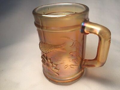 Vintage  Carnival Glass Fish And Water Lilly Cup With Handle