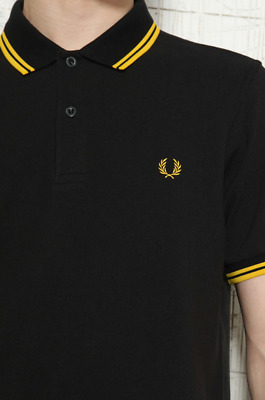 FRED PERRY SLIM FIT TWIN TIPPED POLO SHIRT BLACK / YELLOW m3600 Medium