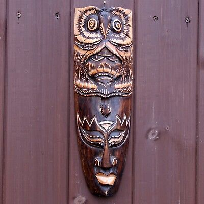 Owl & Bird Hand Carved Tribal African Wall Hanging Mask Face 33cm Ethnic