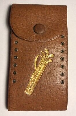 Vintage Leather Golf Score Keeper Horton book Card 2 Person Old Antique