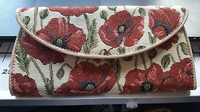 Vintage Tapestry Poppy Purse, Note And Coin