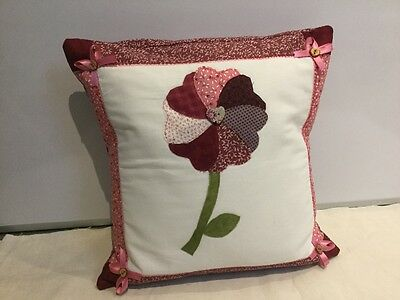Handmade patchwork cusion with flower applique, Valentines, Mothers Day, gift