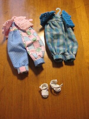 """Two Handmade Rompers Crocheted Sweaters Sandals for Tonner 8"""" Tiny Betsy McCall"""