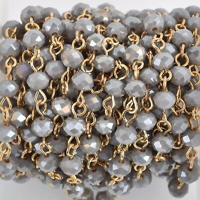 3ft HEATHER GREY AB Crystal Rosary Bead Chain, gold, 6mm rondelle fch0766a