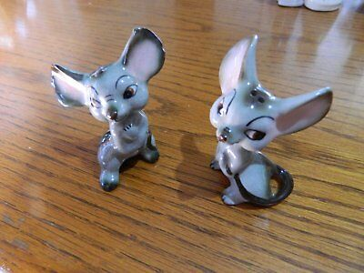 VTG Ceramic Grey/Brown Mouse Mischievous Face Salt and Pepper Shakers Set of 2