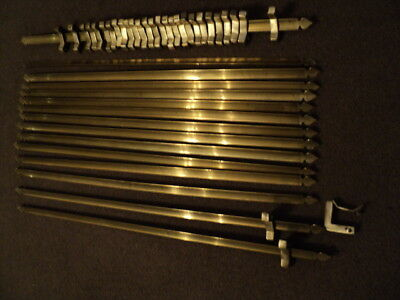 Beautiful Vintage Set Of 15 Brass  Stair Rods And 30 Brackets
