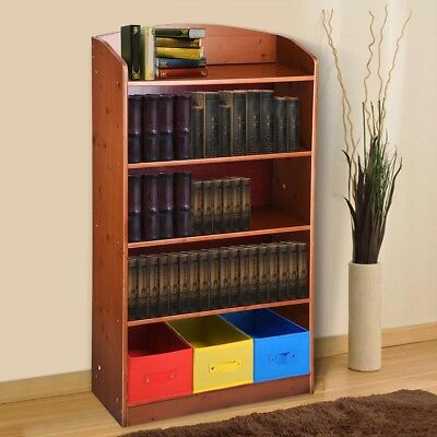 5 Shelf Wood Bookshelf Bookcase Bookrack w/ 3 Bins Storage Organizer Furniture