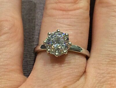 1.6 Carat Diamond Engagement Ring In Platinum By Clarity Boutique Size O & Half