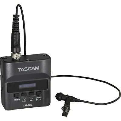 Tascam DR-10L Digital Audio Recorder with Lavalier Mic (Black) Brand New