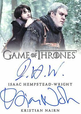 Game Of Thrones Valyrian Steel DUAL AUTOGRAPH card ISAAC HEMPSTEAD-WRIGHT /NAIRN