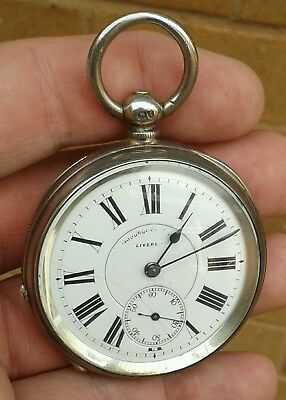 Early Antique Solid Silver Liverpool Open Face Pocket Watch, London 1884..