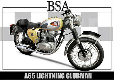 Bsa A65 Lightning Clubman Laminated Classic Motorcycle Print /  Poster