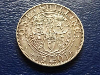Queen Victoria Sterling Silver Shilling 1901 Nice Coin Great Britain Uk
